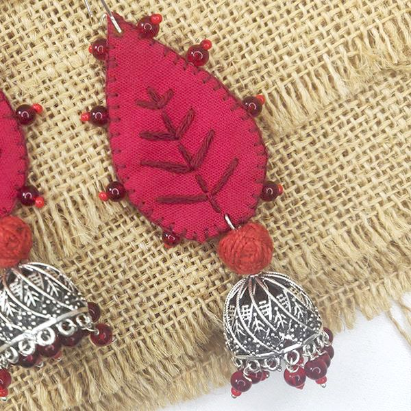 leafy red jhumka with tread and bead details