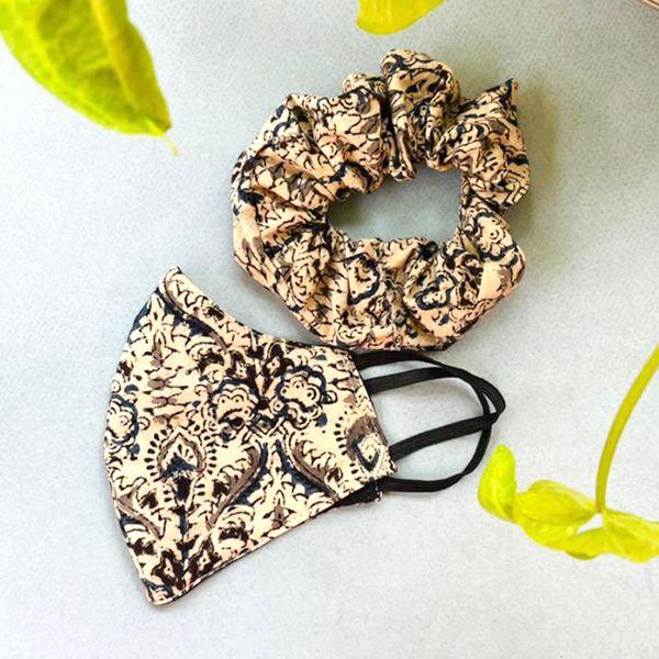 Matching mask & scrunchie combo printed cotton