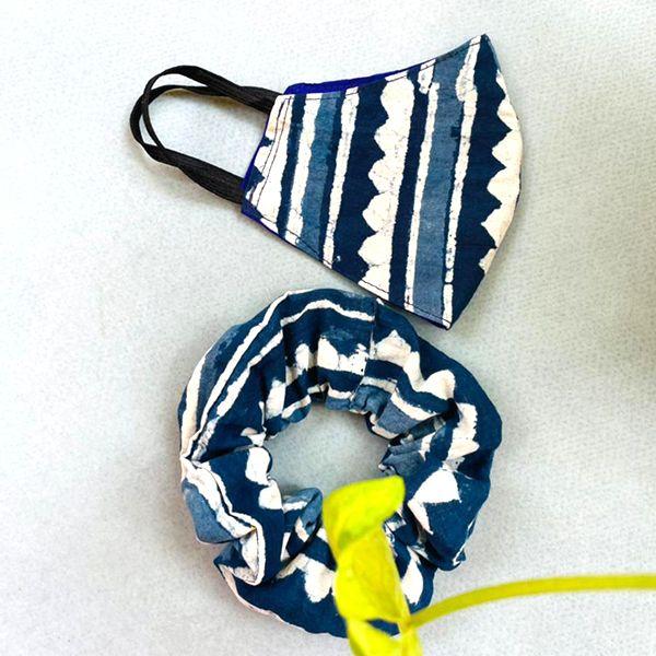 Indigo printed cotton mask and scrunchie combo