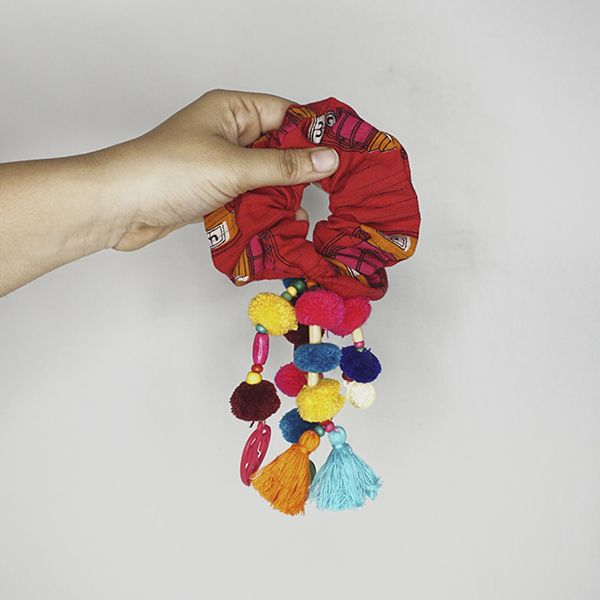 Fiery red scrunches with multo colored bobo hangings